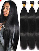 Недорогие -3 Связки Бразильские волосы Прямой Не подвергавшиеся окрашиванию Wig Accessories Человека ткет Волосы Пучок волос 8-28 дюймовый Естественный цвет Ткет человеческих волос Без запаха Мягкость Sexy Lady