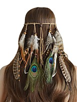 cheap -Women's Headbands For Festival Cord Feather Brown 1pc