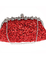 cheap -Women's Sequin / Chain Polyester Evening Bag Solid Color Black / Purple / Champagne