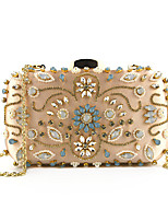 cheap -Women's Chain Polyester Evening Bag Floral Print Black / Wine / Champagne