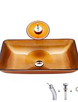 cheap -Bathroom Sink / Bathroom Faucet / Bathroom Mounting Ring Contemporary - Tempered Glass Rectangular
