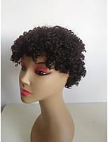 Недорогие -Человеческие волосы без парики Натуральные волосы Kinky Curly Ассиметричная стрижка Женский / Sexy Lady / Молодежный Черный Без шапочки-основы Парик Бразильские волосы Жен.