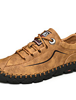 cheap -Men's Printed Oxfords Nappa Leather Fall & Winter Casual Oxfords Walking Shoes Breathable Black / Yellow / Khaki