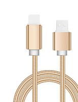 Недорогие -молния USB-кабель адаптер позолоченный кабель для iphone 100 см для алюминия