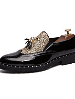 cheap -Men's Fall British Party & Evening Office & Career Loafers & Slip-Ons Leather Black / Gold / Black / Tassel