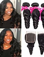 Недорогие -3 комплекта с закрытием Бразильские волосы Свободные волны 100% Remy Hair Weave Bundles Человека ткет Волосы Пучок волос One Pack Solution 8-20 дюймовый Естественный цвет Ткет человеческих волос