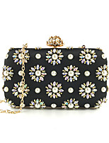 cheap -Women's Crystals / Chain Polyester Evening Bag Floral Print Black