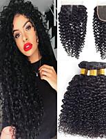 Недорогие -3 комплекта с закрытием Бразильские волосы Kinky Curly Не подвергавшиеся окрашиванию 100% Remy Hair Weave Bundles Человека ткет Волосы Пучок волос One Pack Solution 8-20 дюймовый Естественный цвет