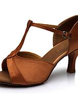 Недорогие -Жен. Танцевальная обувь Лакированная кожа Обувь для латины На каблуках Тонкий высокий каблук Персонализируемая Коричневый