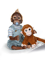 cheap -22 inch Reborn Doll Baby lifelike Gift Artificial Implantation Brown Eyes Oxford Cloth Cloth 3/4 Silicone Limbs and Cotton Filled Body with Clothes and Accessories for Girls' Birthday and Festival