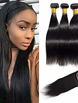 Недорогие -3 комплекта с закрытием Бразильские волосы Прямой Не подвергавшиеся окрашиванию Человека ткет Волосы Пучок волос One Pack Solution 8-20 дюймовый Естественный цвет Ткет человеческих волос / Без запаха