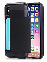 Недорогие -чехол для яблока iphone xr / iphone xs max держатель карты задняя крышка сплошная цветная жесткая искусственная кожа для iphone xs iphone 8 plus 8 iphone 7 plus 7 iphone 6 plus 6