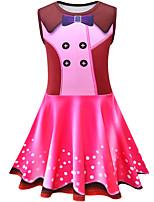 Недорогие -Дети Девочки Классический Симпатичные Стиль Горошек Контрастных цветов Без рукавов До колена Платье Розовый