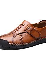 Недорогие -Муж. Кожаные ботинки Кожа Весна лето / Наступила зима На каждый день Мокасины и Свитер Нескользкий Черный / Темно-русый / Темно-коричневый