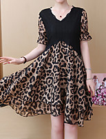 Недорогие -Жен. Изысканный Элегантный стиль Оболочка Платье - Геометрический принт Ассиметричное