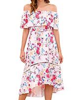 Недорогие -Жен. Классический Оболочка Платье - Геометрический принт Ассиметричное