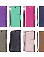 Недорогие -Кейс для Назначение Nokia Nokia 5.1 / Nokia 4.2 / Nokia 3.1 Кошелек / Бумажник для карт / со стендом Чехол Однотонный Твердый Кожа PU