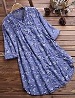 cheap -Women's Street chic Elegant Swing Shirt Dress - Geometric Ruffle Patchwork Print White Blue Green S M L XL
