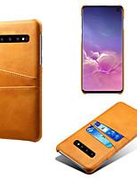 Недорогие -Кейс для Назначение SSamsung Galaxy Galaxy S10 / Galaxy S10 Plus / Galaxy S10 E Бумажник для карт / Защита от пыли / Защита от влаги Кейс на заднюю панель Однотонный Твердый Кожа PU / ПК