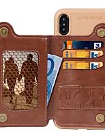 Недорогие -чехол для iphone xr / iphone xs max магнитный / с подставкой / противоударная задняя крышка однотонная твердая натуральная кожа / искусственная кожа для iphone 6s / iphone 6s plus / iphone 7 / iphone