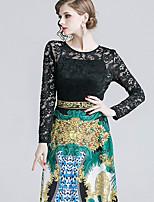 Недорогие -Жен. Классический Изысканный А-силуэт С летящей юбкой Платье - Контрастных цветов, Кружева С принтом Макси