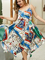 Недорогие -Жен. Богемный Элегантный стиль С летящей юбкой Платье С принтом Ассиметричное