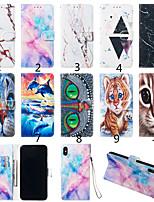 Недорогие -Кейс для Назначение Apple iPhone XS / iPhone XR / iPhone XS Max Кошелек / Бумажник для карт / со стендом Чехол Кот / Животное / Мрамор Твердый Кожа PU