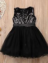 Недорогие -Дети Дети (1-4 лет) Девочки Однотонный Платье Черный