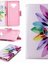Недорогие -Кейс для Назначение SSamsung Galaxy Note 9 / Note 8 Кошелек / Бумажник для карт / со стендом Чехол Цветы Твердый Кожа PU