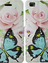 Недорогие -Кейс для Назначение Huawei P10 / P8 Lite (2017) / Huawei P8 Lite Бумажник для карт / Флип Чехол Однотонный / Бабочка / Цветы Твердый Кожа PU