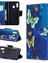 Недорогие -Кейс для Назначение SSamsung Galaxy A6 (2018) / A6+ (2018) / Galaxy A7(2018) Кошелек / со стендом / Флип Чехол Бабочка Твердый Кожа PU