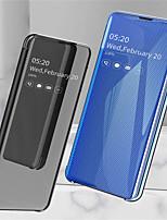 Недорогие -Кейс для Назначение SSamsung Galaxy Galaxy S10 / Galaxy S10 Plus / Galaxy S10 E со стендом / Покрытие / Зеркальная поверхность Чехол Однотонный Твердый Кожа PU