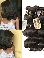 Недорогие -3 Связки Бразильские волосы Естественные кудри Необработанные натуральные волосы Человека ткет Волосы Пучок волос One Pack Solution 8-28 дюймовый Естественный цвет Ткет человеческих волос