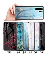 Недорогие -Кейс для Назначение Huawei Huawei P20 / Huawei P20 Pro / Huawei P20 lite С узором Кейс на заднюю панель Мрамор Твердый Закаленное стекло