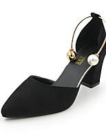 Недорогие -Жен. Обувь на каблуках Комфортная обувь На толстом каблуке Заостренный носок Полиуретан Лето Черный / Бежевый / Розовый