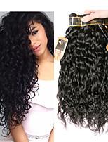 Недорогие -3 Связки Индийские волосы Волнистые Не подвергавшиеся окрашиванию Человека ткет Волосы Пучок волос One Pack Solution 8-28 дюймовый Естественный цвет Ткет человеческих волос