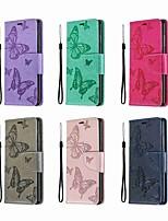 Недорогие -Кейс для Назначение Nokia Nokia 5.1 / Nokia 4.2 / Nokia 3.1 Кошелек / Бумажник для карт / со стендом Чехол Однотонный / Бабочка Твердый Кожа PU