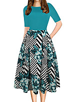 Недорогие -Жен. Классический Элегантный стиль Оболочка Платье - Цветочный принт, Пэчворк С принтом До колена