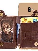 Недорогие -Кейс для Назначение SSamsung Galaxy J6 (2018) / J6 Plus / J4 (2018) Кошелек / Бумажник для карт / Защита от удара Кейс на заднюю панель Однотонный Твердый Кожа PU
