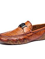 Недорогие -Муж. Комфортная обувь Наппа Leather Весна лето Деловые / На каждый день Мокасины и Свитер Нескользкий Черный / Темно-русый / Темно-коричневый
