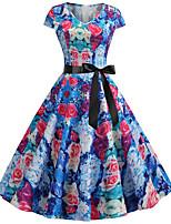 Недорогие -Жен. Классический Шинуазери (китайский стиль) А-силуэт С летящей юбкой Платье - Контрастных цветов, С принтом До колена