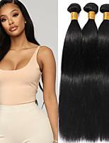 Недорогие -3 Связки Индийские волосы Прямой человеческие волосы Remy 100% Remy Hair Weave Bundles Головные уборы Человека ткет Волосы Пучок волос 8-28 дюймовый Естественный цвет Ткет человеческих волос