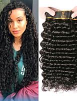 Недорогие -3 Связки Малазийские волосы Крупные кудри Не подвергавшиеся окрашиванию Человека ткет Волосы One Pack Solution Накладки из натуральных волос 8-28 дюймовый Естественный цвет Ткет человеческих волос