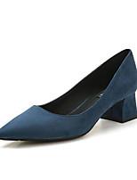 Недорогие -Жен. Обувь на каблуках Туфли на шпильках На толстом каблуке Заостренный носок Полиуретан Милая / Минимализм Весна & осень Черный / Темно-синий