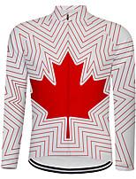Недорогие -21Grams Канада Флаги Муж. Длинный рукав Велокофты - Белый Велоспорт Верхняя часть Устойчивость к УФ Дышащий Влагоотводящие Виды спорта Терилен Горные велосипеды Шоссейные велосипеды Одежда