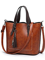 cheap -Women's Polyester / PU Top Handle Bag Solid Color Black / Brown / Red