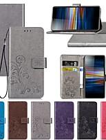 Недорогие -Кейс для Назначение Sony Sony XA2 Plus / Sony Xperia L3 / Sony Xperia 10 Кошелек / со стендом / Флип Чехол Однотонный / Бабочка / Цветы Твердый Кожа PU
