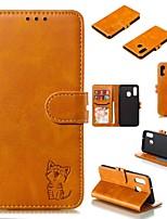Недорогие -Кейс для Назначение SSamsung Galaxy A6 (2018) / A6+ (2018) / Galaxy A9 (2018) Кошелек / Бумажник для карт / Защита от удара Чехол Однотонный / Кот Твердый Кожа PU