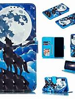 Недорогие -Кейс для Назначение Apple iPhone XS / iPhone XR / iPhone XS Max Кошелек / Бумажник для карт / Защита от удара Чехол Животное / Мультипликация Твердый Кожа PU