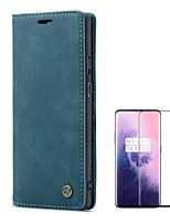 Недорогие -Кейс для Назначение OnePlus Один плюс 7 / One Plus 7 Pro Бумажник для карт / Защита от удара / Матовое Чехол Однотонный Твердый Кожа PU